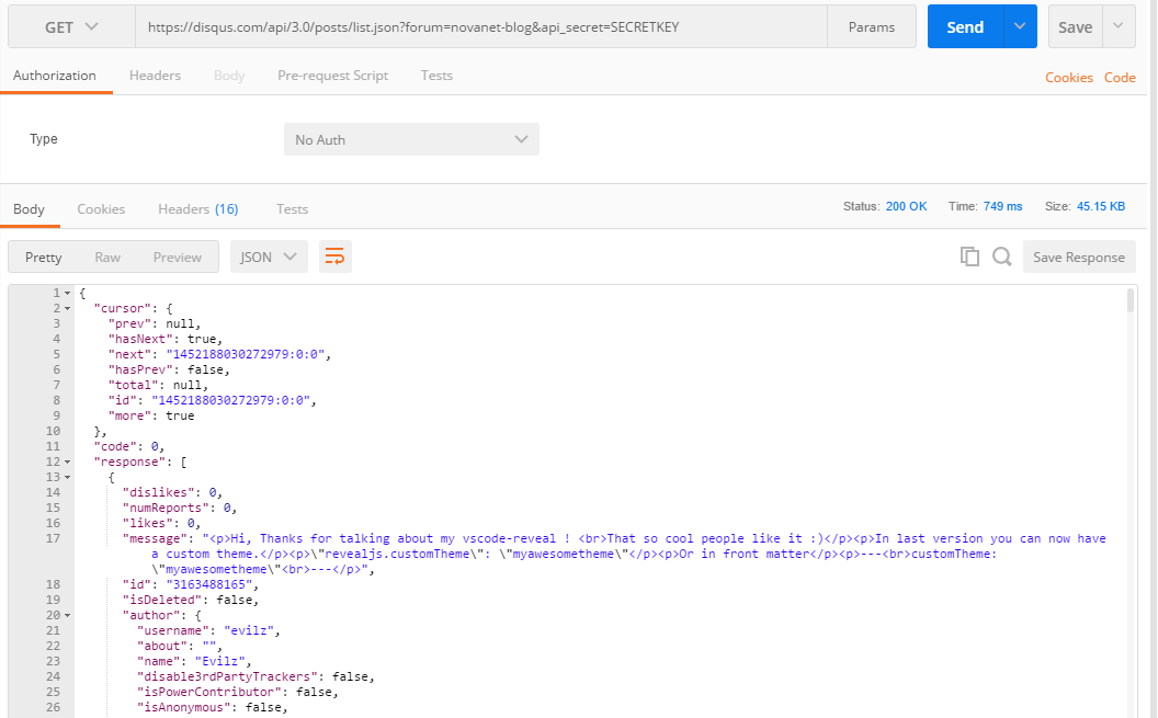 Response from Disqus API request