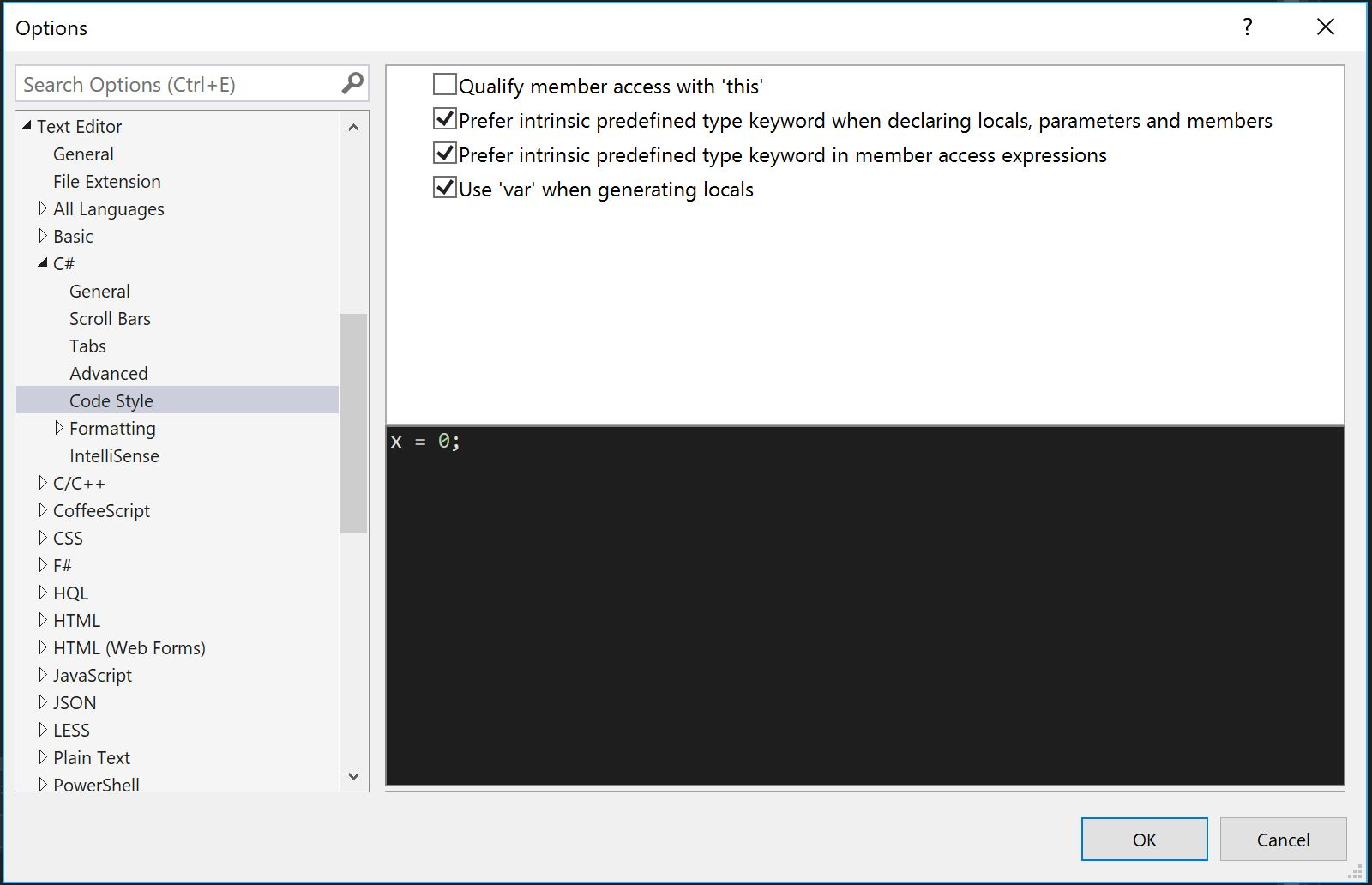 VS2015 Code style options